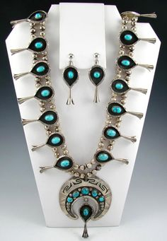 Squash Blossom Necklace with matching Earrings | Unknown Navajo Artist.  Sterling silver with Natural Persian Turquoise.  ca. 1960s