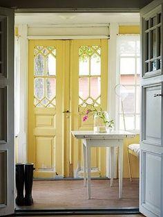 home sweet home. so shabby chic.love the yellow doors! Painted Interior Doors, Painted Doors, Interior Painting, Painting Art, Painting Tips, Home Interior, Interior Design, Yellow Interior, Farmhouse Interior