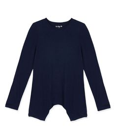 Navy Sidetail Top - Toddler & Girls