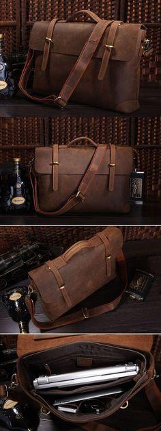 """Antique Crazy Horse leather Briefcase Laptop Messenger Bag Ipad 14"""" 15"""" Laptop 15"""" Macbook Bag"""