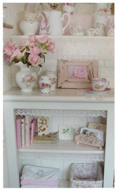Shabby chic. Like the placement of the lace.