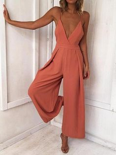 Lady Backless Long Jumpsuits Women Solid Back Bow Flare Leg Playsuit V-neck Sexy Beach Loose Jumpsuit Jumpsuit Casual, Backless Jumpsuit, Jumpsuit Outfit, Elegant Jumpsuit, Summer Jumpsuit, Tailored Jumpsuit, Ladies Jumpsuit, Black Jumpsuit, Romper Suit