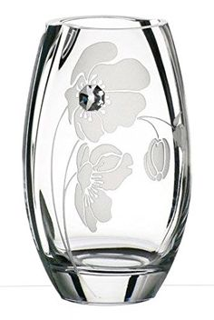 Hand Blown Glass Vase with Swarovski Crystal and Sandblasted Flower Decoration, 7.9 in * Check this awesome product by going to the link at the image. (This is an affiliate link and I receive a commission for the sales)