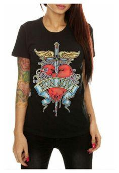 """Bon Jovi -shirt-"" by lovecostarica ❤ liked on Polyvore featuring black, rock, Tshirt, rockin and BonJovi"