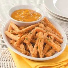 spicy baked sweet potato fries---Great recipe! I just ate them with ketchup but they are definitely a great side!