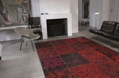 Vintage - Red 8014. Free UK delivery on all Louis de Poortere rugs. Vintage collection - distressed designs in a patchwork style - perfect large rugs for living rooms or bedrooms.