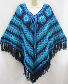 Vintage Retro Hand Crafted Blue Green Crochet Poncho Cape Boho Hippy Granny NEW