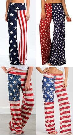 American Flag Wide Leg Pants Collection