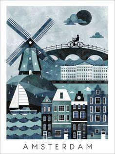 Amsterdam Travel Poster Print