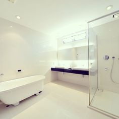 Beautiful bathroom, so clean with all white design!