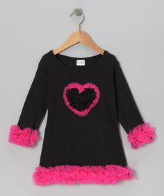 Take a look at this Black & Hot Pink Ruffle Heart Dress - Infant, Toddler & Girls by Diva Daze on #zulily today!