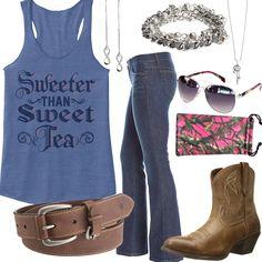 c2a70e63435c Sweeter Than Sweet Tea Tank Top Outfit. Camo SunglassesCountry Girl ...