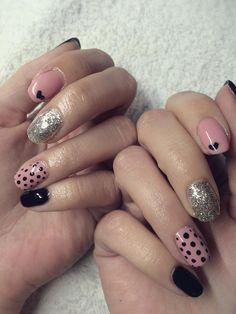 gel lac nail polish pink black silver cute heart