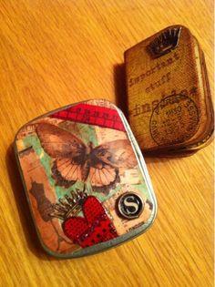 Tiny tin: decoupage old book illustrations onto mini altoids tins? Hmmmm...