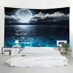 Moon Sea Star Tapestry Home Decoration - Multi-A x inch Inspire Me Home Decor, Space Tapestry, Wall Tapestry, Wall Art Decor, Wall Art Prints, Dyi, Moon Sea, Blue Moon, Sun And Moon Tapestry