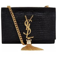 Saint Laurent Small Lizard Print Monogramme Tassel Satchel (544.055 HUF) ❤ liked on Polyvore featuring bags, handbags, clutches, purses, leather purse, retro purse, mini leather handbags, yves saint laurent handbags and genuine leather handbags