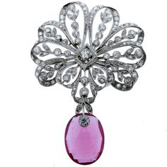 Vintage Pink Tourmaline and Diamond Brooch
