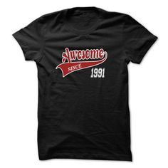 Awesome Since 1991 T Shirts, Hoodies. Get it now ==► https://www.sunfrog.com/Birth-Years/Awesome-Since-1991-Black.html?57074 $19