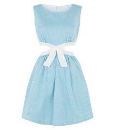 Cutie Blue Cut Out Bow Front Skater Dress