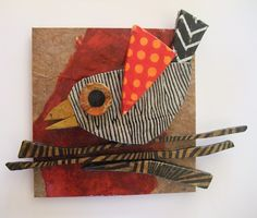 Mary begins with odd shapes of scrap wood from the local cabinet shop and a life-long stash of beautiful handmade papers from all over the world, Mary has made these bird collages come to life. Cardboard Art, Art Club, Art Plastique, Teaching Art, Elementary Art, Bird Art, Fabric Art, Collage Art, Collages