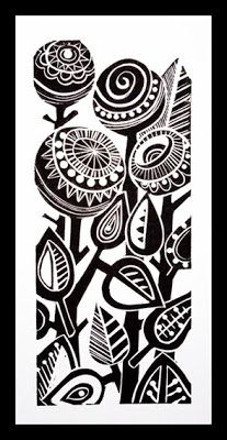 Drawing Flowers Abstract Flowers lino print -like the style, dark thick shapes contrasting with thin compact lines Sgraffito, Linocut Prints, Art Prints, Block Prints, Buch Design, Design Art, Print Design, Linoprint, Plant Drawing