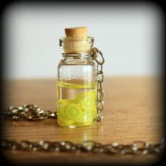 Limeade polymer clay miniatures, make anything mini then stick it in a glass bottle with water.