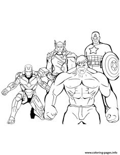 Iron Man Thor Hulk Captain America Coloring Page
