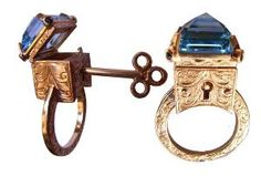 9ct Yellow Gold Engraved Topaz Locking Poison Ring with Key on Chain - How Adorable!