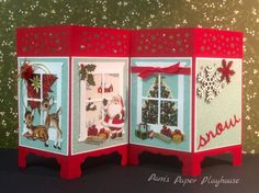 Santa Arrives by Pamela T Stoner, This screen card tells a little story. Rudolph arrives, Santa appears, gifts under the tree. and a panel to sign. Christmas Card Crafts, Christmas Cards To Make, Xmas Cards, Handmade Christmas, Holiday Cards, Screen Cards, Window Cards, Fancy Fold Cards, Folded Cards