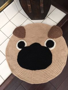 For the pug lovers , if you love our pug pillow here is the rug also for more love and more mushed faces. It is around 26 diameter. Custom order available for bigger size.   Our original design and pattern © Copyright 2011