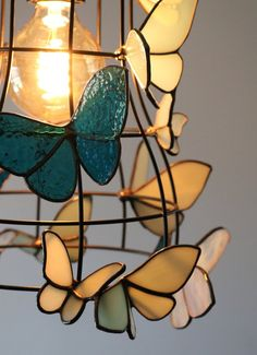 Moth to a Flame Lamp - Light Fixture with White and Blue Stained Glass Moths Stained Glass Lamps, Stained Glass Projects, Stained Glass Windows, Mosaic Glass, Light Fixture, Lamp Light, Dark Wings, Glass Butterfly, Flower Lights