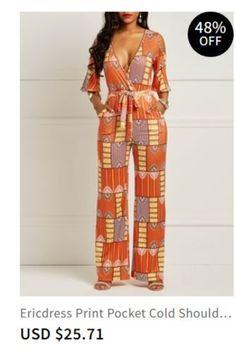 19ec69a51a Ericdress Print Pocket Cold Shoulder Women s Jumpsuits Item Code  13442604  Model Loose christmas dresses