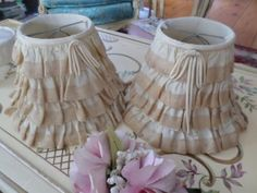Pair-of-THE-BEST-Vintage-lamp-Shades-Layers-of-Ruffled-Lace-CHIC