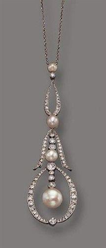 PLATINUM, DIAMOND AND PEARL LAVALIERE, CIRCA 1910 #VintageJewelry