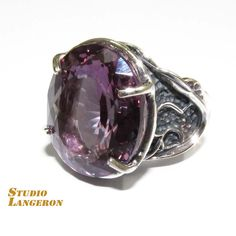 Alexandrite ring sterling silver, handmade, solid 925 silver, natural Alexandrite, size 8 by StudioLangeron on Etsy