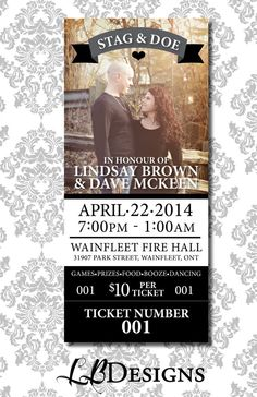 STAG & DOE TICKET Banner and Picture by LindsayBrownDesigns, $80.00 Our Wedding, Dream Wedding, Garden Wedding, Wedding Ideas, Stag And Doe Games, Invitation Design, Invitations, Ticket Design, Ticket Template