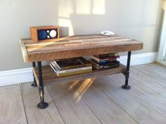 Industrial wood & steel media stand or coffee table, reclaimed barnwood with industrial pipe legs via Etsy