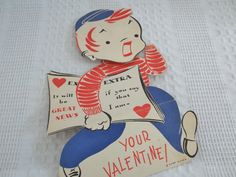 Vintage Valentine's Day Card large collectible by GraceYourNest