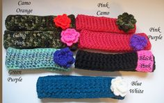 Crochet Ear Warmers with Flowers by SiennaSews on Etsy $10 Free Shipping! 10% off with coupon code JAN2015
