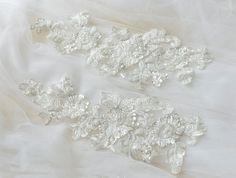 Such a adorable & delicate lace applique! Floral Lace, Floral Wedding, Lace Wedding, Beaded Trim, Beaded Lace, Sewing Trim, Bridal Lace, Lace Applique, Pearl Beads