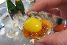 kumamoto oyster with ikura, uni and quail egg (and champagne!)