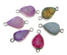 925 Sterling Silver Bezel druzy Connectors  fine by finegemstone, $30.00