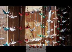 Grullas en tonos navideños. Origami delirante!!