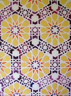 Maryleen Schiltkamp  Islamic pattern june 9 2009  Good example of a geometric pattern,hand drawn.
