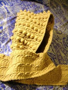 Free Crochet Parfait: Fisherman Cable Hoodie Scarf Pattern