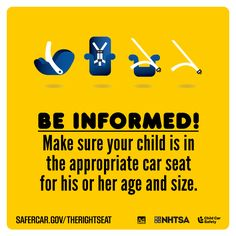 Parents, be informed! Make sure your child is in the appropriate car seat for his or her age and size. #isaluteCPS #TheRightSeat