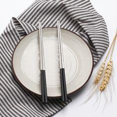 Black Silver Chopsticks Stainless Steel