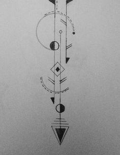Le dessin définitif !! Tatouage géométrique Arrow tattoo Geometric tattoo black line tattoo