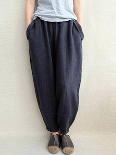 b45549a353489 S-5XL Women Elastic Waist Solid Color Loose Casual Pant Plus Size Pants