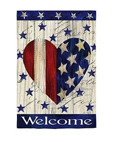 Red & White Striped Heart Garden Flag from Just for Fun Flags. A patriotic heart flag from Evergreens Suede Reflection Collection by artist Elena Vladykina. * Image: Appears the same on both sides * Text: Reads correctly on both side Americana Crafts, Patriotic Crafts, July Crafts, Holiday Crafts, Country Crafts, Fourth Of July Decor, 4th Of July Decorations, July 4th, Tole Painting
